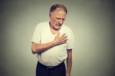 A man experiences chest pain