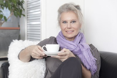 An older woman relaxes