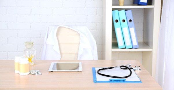 A testicular pain doctor's desk