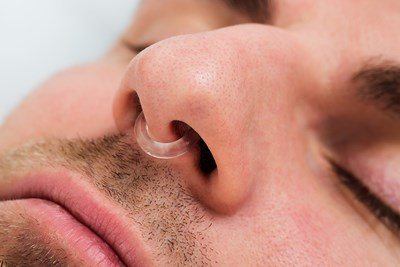 man wearing snoring product