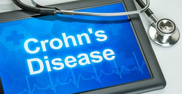 a tablet containing information on Crohn's disease risk factors