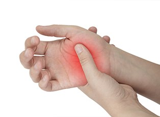 a hand is sore and red from rheumatoid arthritis