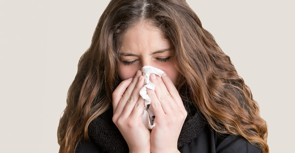 a woman suffering from chronic sinusitis