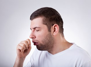 a man exhibits whooping cough symptoms
