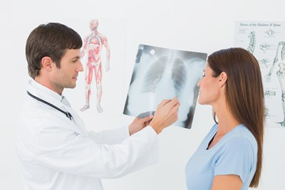 A doctor treats cystic fibrosis