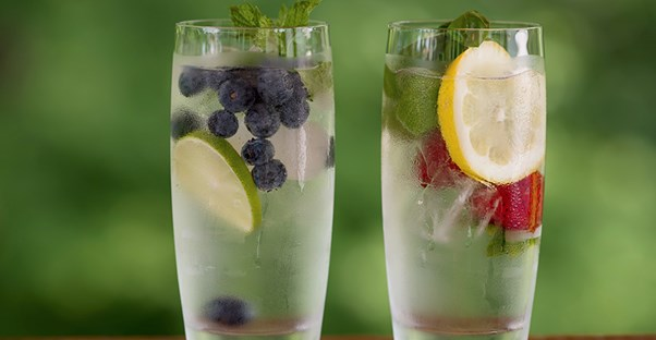Two glasses of flavored water