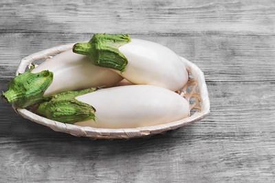 Eggplants in a dish. Veganism.