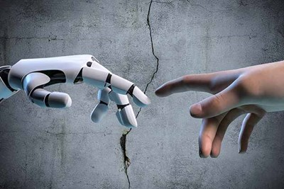 a robot hand and a human hand imitate a famous scene from the sistine chapel