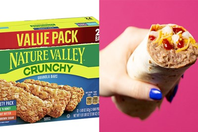 Nature Valley Crunchy Granola Bars and Taco Bell Bean Burrito