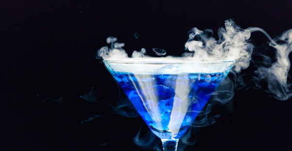 a drink containing dry ice